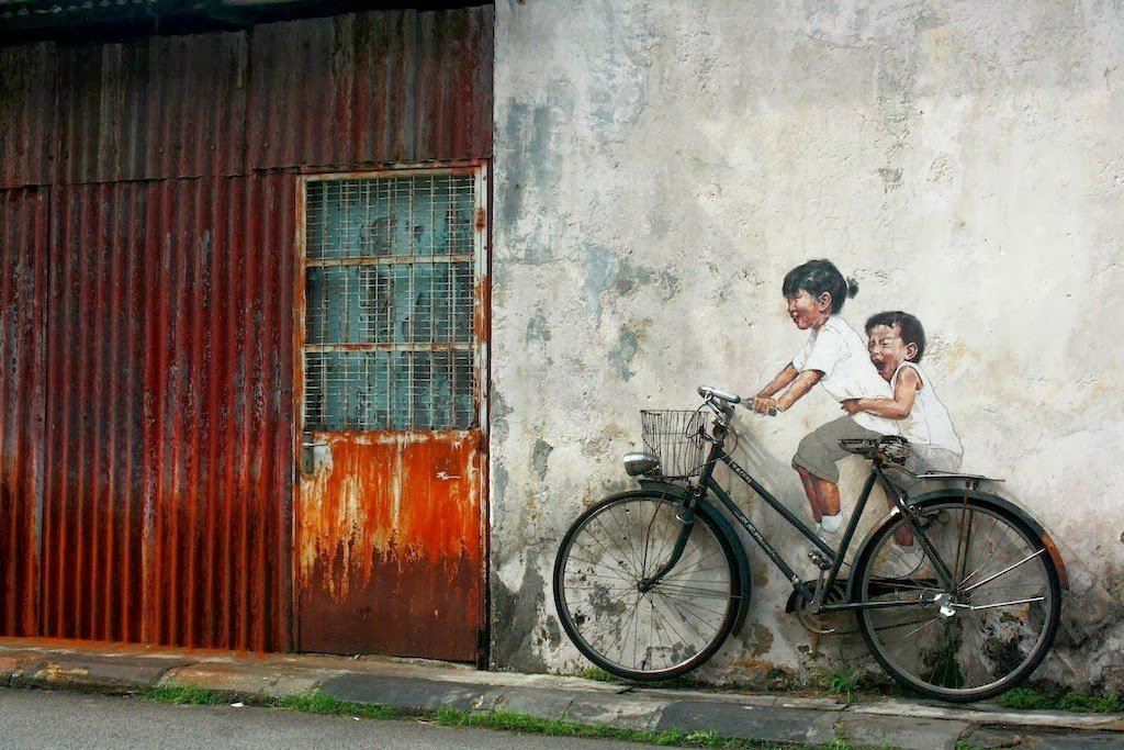 Murals a George Town sull'isola di Penang in Malesia