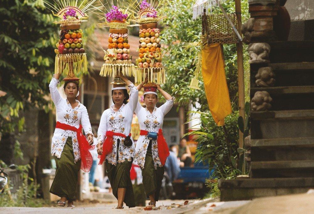 Donne Balinesi durante una cerimonia