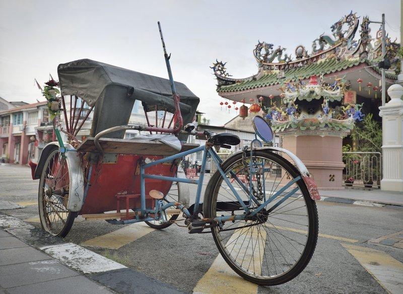 Il Trishaw è un mezzo di trasporto tradizionale a Penang in Malesia