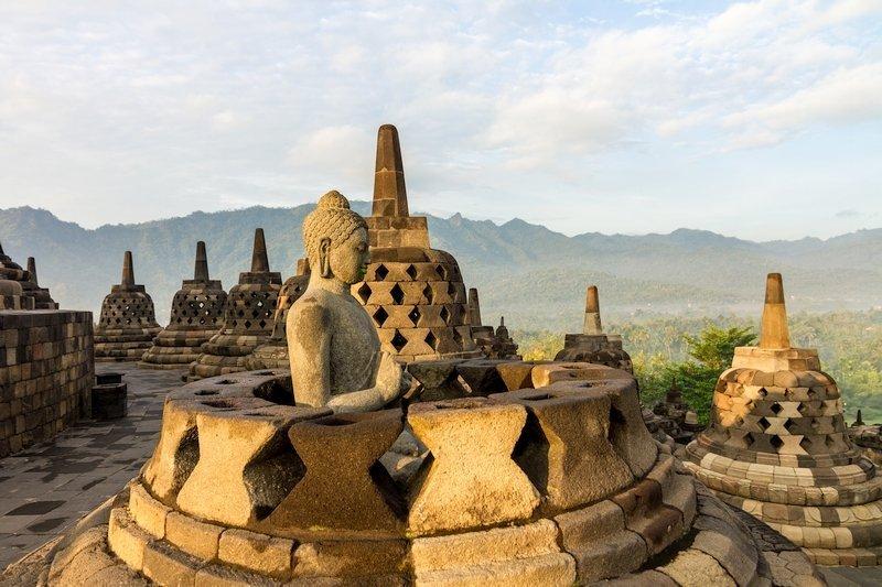 Stupa del Tempio di Borobudur a Giava in Indonesia