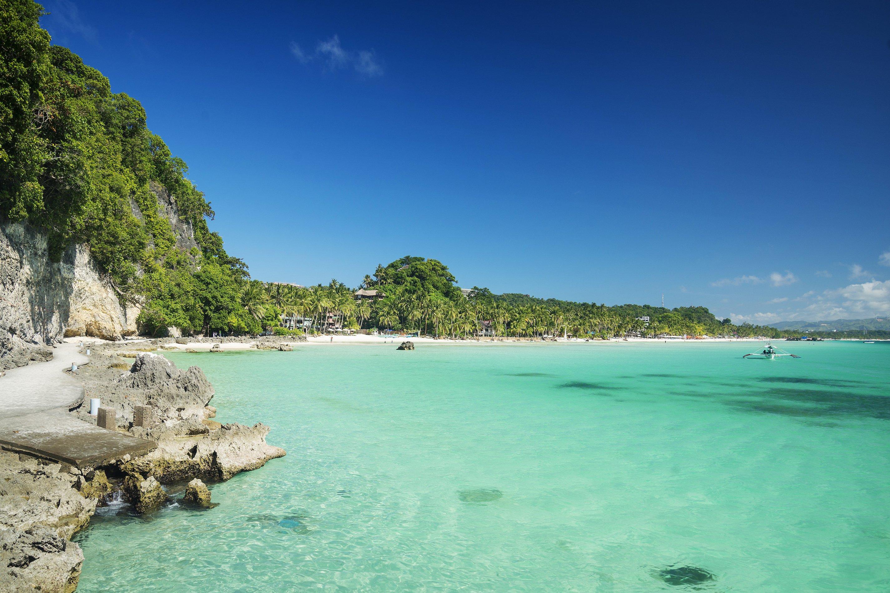 La spiaggia di Diniwid è una delle spiagge più belle dell'isola di Boracay, Filippine
