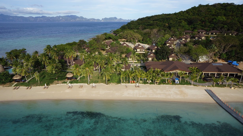 Vista aerea della spiaggia del Two Seasons Coron Island Resort & Spa, Palawan